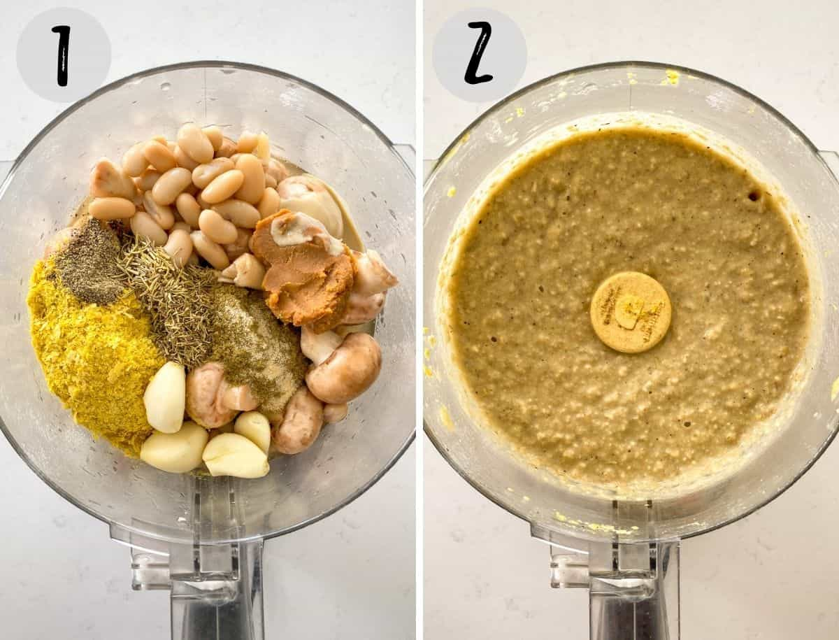 Beans, garlic, mushrooms and spices in food processor, before and after blending.