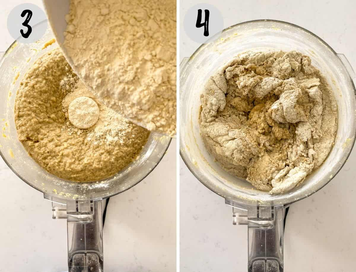 Flour being poured into food processor and then blended with wet ingredients.