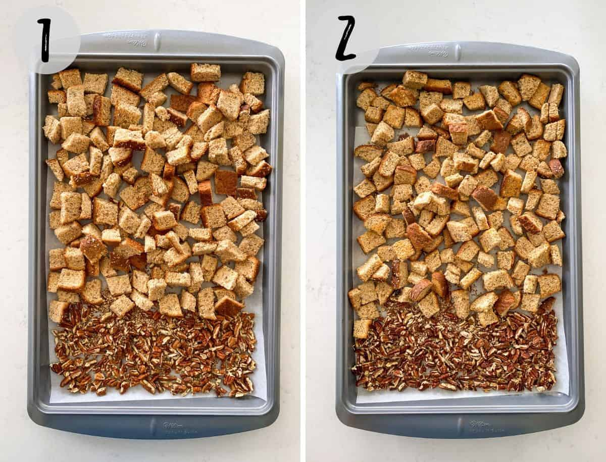 Cubed bread and chopped pecans in baking tray, before and after baking.