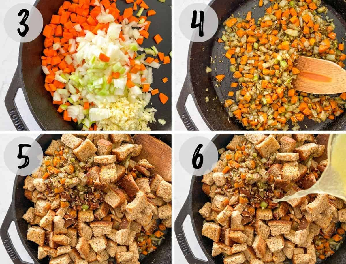 Image collage of diced veggies being sautéed and then bread and broth being added.