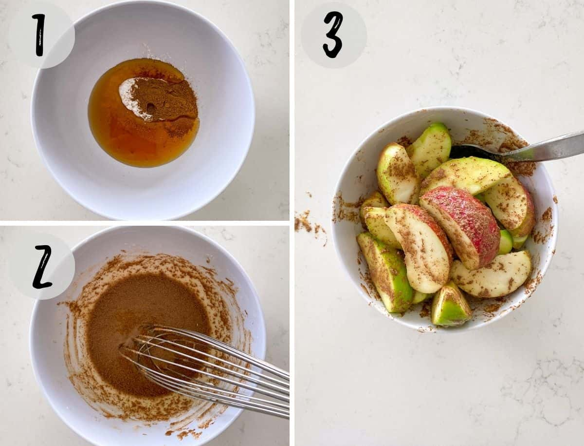Collage of images of marinade being mixed and then apple wedges added to the bowl.