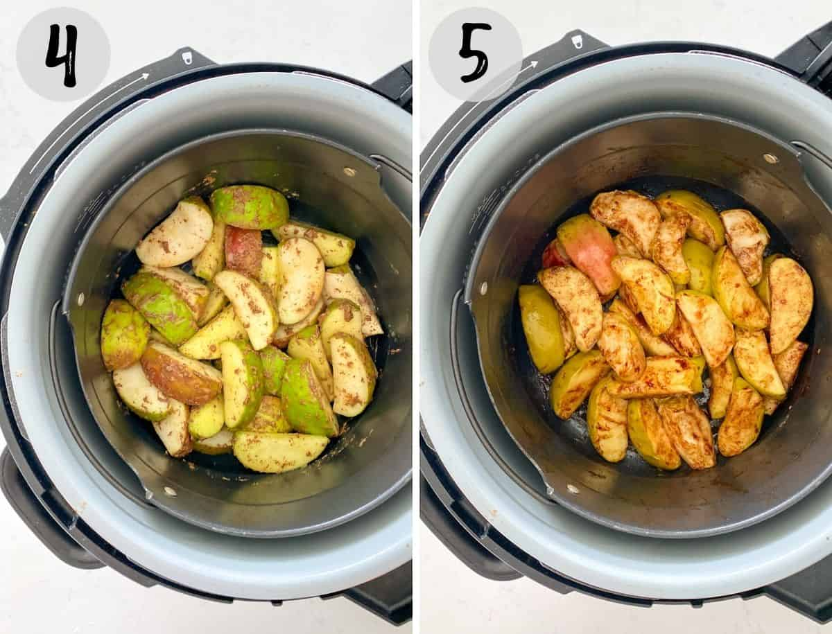 Apple wedges in air fryer before and after cooking.