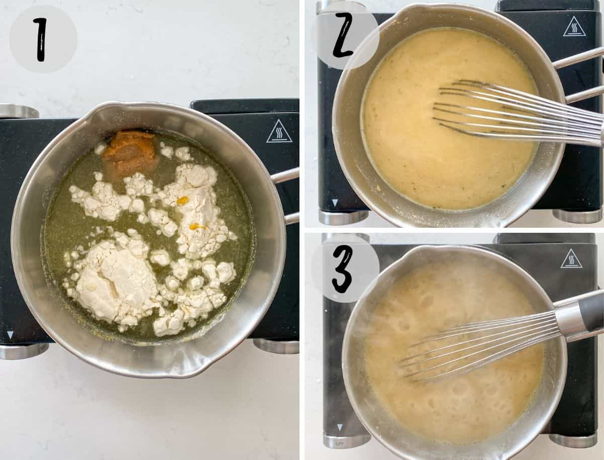 Small pot with broth, seasoning and flour being mixed into gravy.