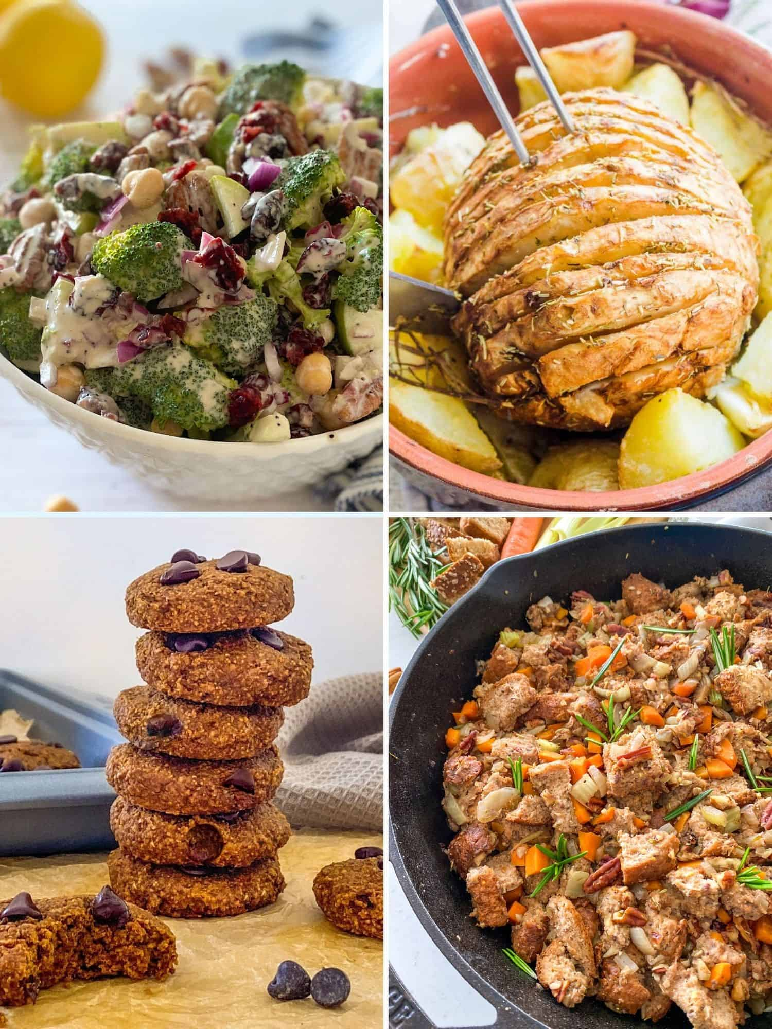 Collage of images of vegan Thanksgiving recipes.